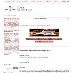 Commentaires d'arrêts en droit des obligations