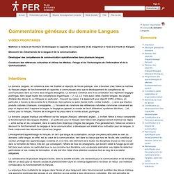 Commentaires généraux du domaine Langues - plandetudes.ch