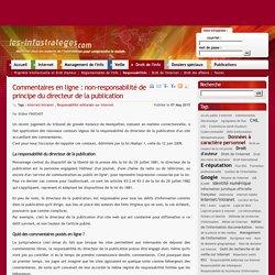 Commentaires en ligne : non-responsabilité de principe du directeur de la publication
