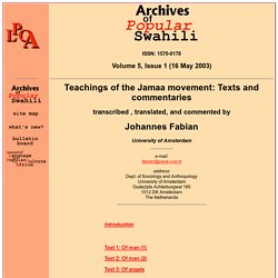 APS - Vol. 5 - Teachings of the Jamaa movement: Texts and commentaries - Introduction