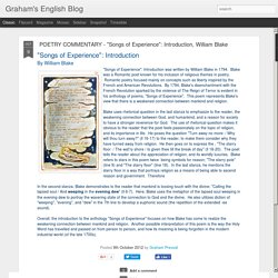 "Graham's English Blog: POETRY COMMENTARY - ""Songs of Experience"": Introduction, William Blake"