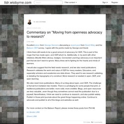 "Commentary on ""Moving from openness advocacy to research"""