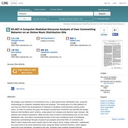 CiNii Articles -  RJ-007 A Computer-Mediated Discourse Analysis of User Commenting Behavior on an Online Music Distribution Site