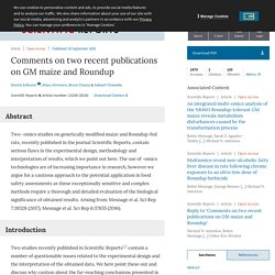 SCIENTIFIC REPORTS 03/09/18 Comments on two recent publications on GM maize and Roundup