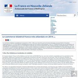 Le commerce bilatéral franco-néo-zélandais en 2014 - La France en Nouvelle Zélande