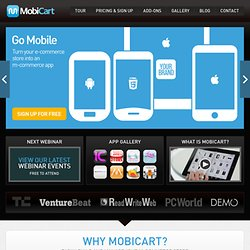 iPhone, iPad, Android, app builder, m-commerce, mobile shopping cart, CMS