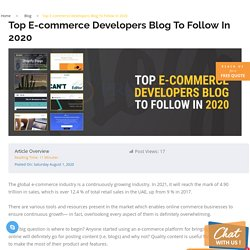 Top E-commerce Developers Blog To Follow In 2020
