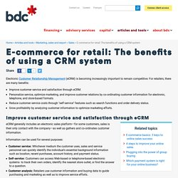E-commerce for retail: Benefits of a CRM
