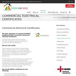 Commercial Electrical Certificates