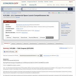 H.R.2262 - 114th Congress (2015-2016): U.S. Commercial Space Launch Competitiveness Act