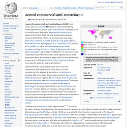 Accord commercial anti-contrefaçon