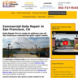 Commercial Electric Gate Repair Services in San Francisco, CA