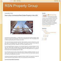 Buy Commercial Real Estate Property in the USA with RSN Property Group