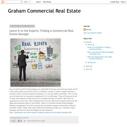 Leave It to the Experts: Finding a Commercial Real Estate Manager