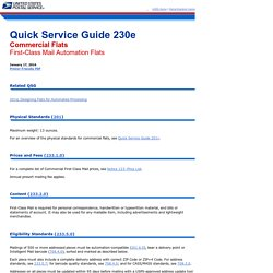 QSG 230e Commercial Flats - First-Class Mail Automation Flats