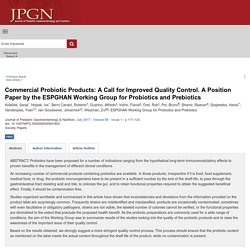 Commercial Probiotic Products: A Call for Improved Quality... : Journal of Pediatric Gastroenterology and Nutrition