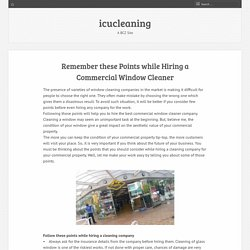 Remember these Points while Hiring a Commercial Window Cleaner