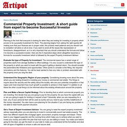 Commercial Property Investment: A short guide from expert to become Successful Investor