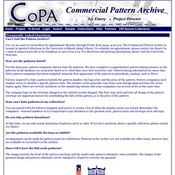 Commercial Pattern Archive - FAQ