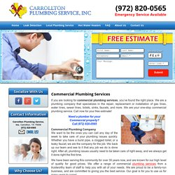 Commercial Plumbing Services Carrollton , Plano, and Frisco