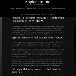 Reasons to Consider Investing in Commercial Real Estate in River Falls, WI - Applegate Commercial Properties Inc.