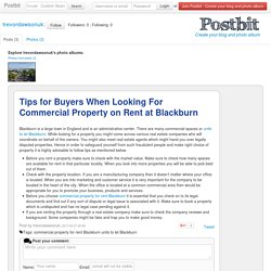 Tips for Buyers When Looking For Commercial Property on Rent at Blackburn