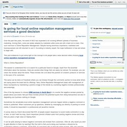 Is going for local online reputation management services a good decision?