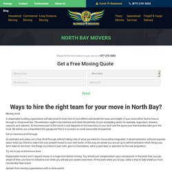 Commercial Office Condo Furniture Movers, Local Residential Apartment Long Distance Cross Country Movers & Moving Company North Bay