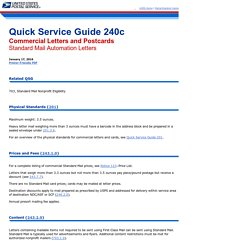 QSG 240c Commercial Letters and Cards - Standard Mail Automation Lett