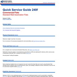 QSG 240f Commercial Flats - Standard Mail Automation Flats