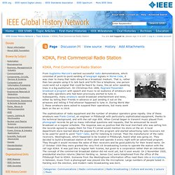 KDKA, First Commercial Radio Station - GHN: IEEE Global History Network