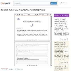 TRAME DE PLAN D ACTION COMMERCIALE - PDF Téléchargement Gratuit