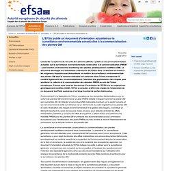 EFSA 10/08/11 Document d'orientation actualisé sur la surveillance environnementale consécutive à la commercialisation des plant