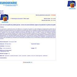 JOUE15/10/08LIVRE VERT sur la qualité des produits agricoles: normes de commercialisation, exigences de production et systèmes de qualité