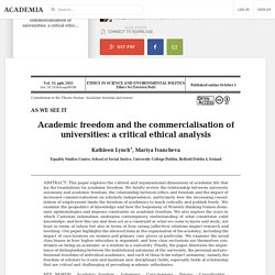 Academic freedom and the commercialisation of universities: a critical ethical analysis