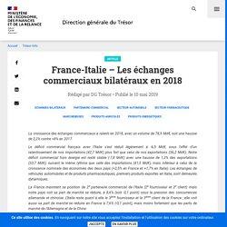 France-Italie – Les échanges commerciaux bilatéraux en 2018
