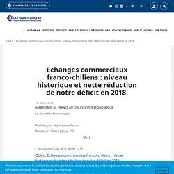 Echanges commerciaux franco-chiliens : niveau historique et nette réduction de notre déficit en 2018.