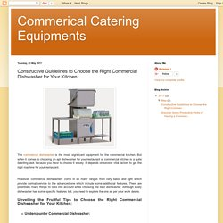 Commerical Catering Equipments: Constructive Guidelines to Choose the Right Commercial Dishwasher for Your Kitchen