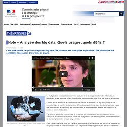 Note – Analyse des big data. Quels usages, quels défis ?