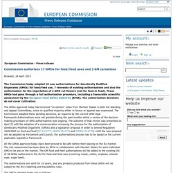 EUROPE 24/04/15 Commission authorises 17 GMOs for food/feed uses and 2 GM carnations
