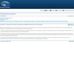 PARLEMENT EUROPEEN - Réponse à question E-001851-16 Commission's response to Parliament's strategic initiative report on biodiversity