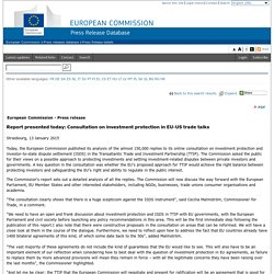 Report presented today: Consultation on investment protection in EU-US trade talks