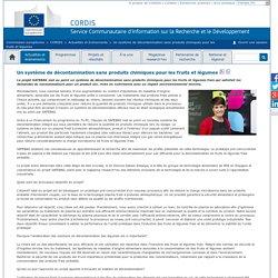 CORDIS 29/09/14 Un système de décontamination sans produits chimiques pour les fruits et légumes