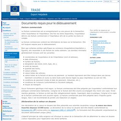 European Commission : Trade : Export Helpdesk : Documents requis pour le dédouanement