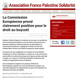 La Commission Européenne prend clairement position pour le droit au boycott