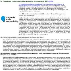 La Commission europeenne publie sa nouvelle strategie sur la RSE, Novethic