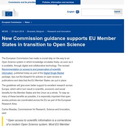New Commission guidance supports EU Member States in transition to Open Science