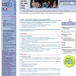 CHS - Commission Hygiène et Sécurité en EPLE