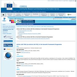 EUROSTARS Individual Article 185 Initiatives