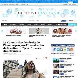 """La Commission des droits de l'homme propose l'introduction de la notion de """"genre"""" dans le droit français"""